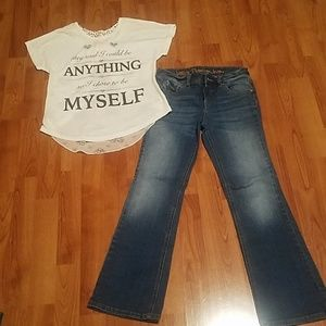 2 pc blouse and justice jeans